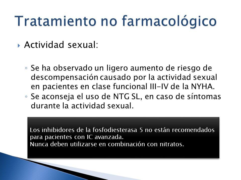 Actividad sexual: Se ha observado un ligero aumento de riesgo de descompensación causado por la actividad sexual en pacientes en clase funcional III-I