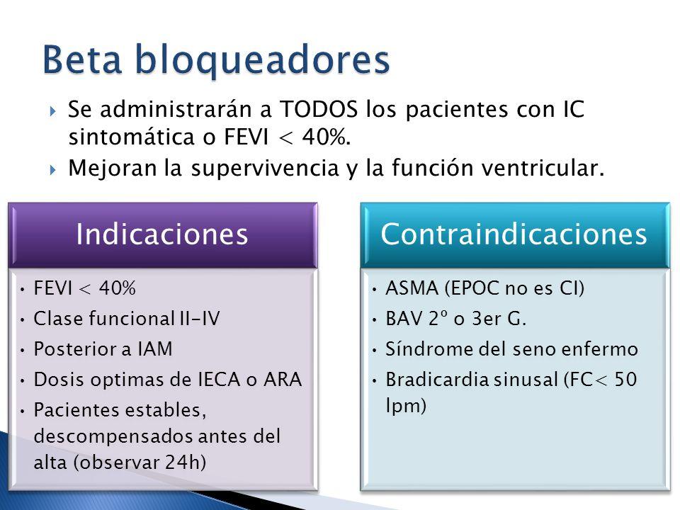 Se administrarán a TODOS los pacientes con IC sintomática o FEVI < 40%. Mejoran la supervivencia y la función ventricular. Indicaciones FEVI < 40% Cla