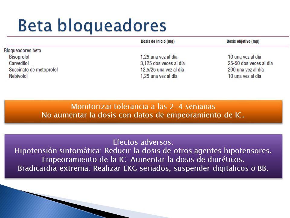 Monitorizar tolerancia a las 2-4 semanas No aumentar la dosis con datos de empeoramiento de IC. Monitorizar tolerancia a las 2-4 semanas No aumentar l