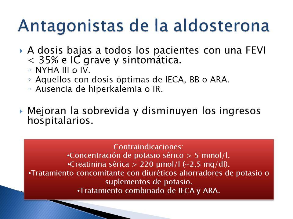 A dosis bajas a todos los pacientes con una FEVI < 35% e IC grave y sintomática. NYHA III o IV. Aquellos con dosis óptimas de IECA, BB o ARA. Ausencia