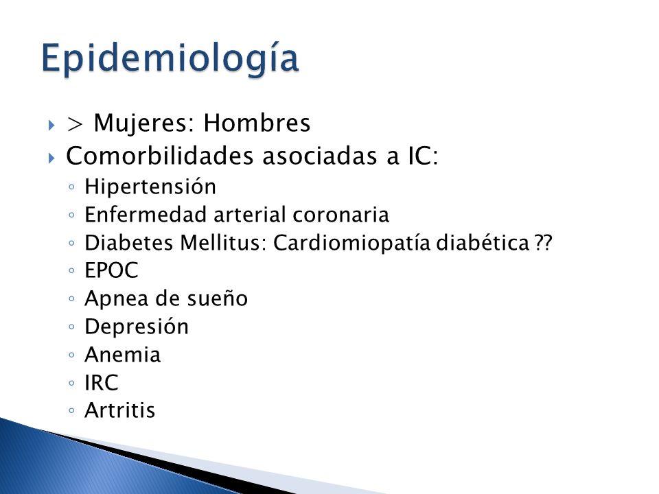 > Mujeres: Hombres Comorbilidades asociadas a IC: Hipertensión Enfermedad arterial coronaria Diabetes Mellitus: Cardiomiopatía diabética ?? EPOC Apnea