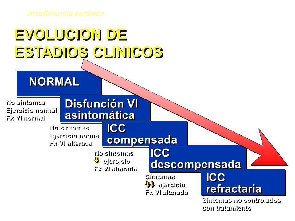 EVOLUCION DE ESTADIOS CLINICOS EVOLUCION DE ESTADIOS CLINICOS NORMAL Disfunción VI asintomática Disfunción VI asintomática ICC compensada ICC compensa