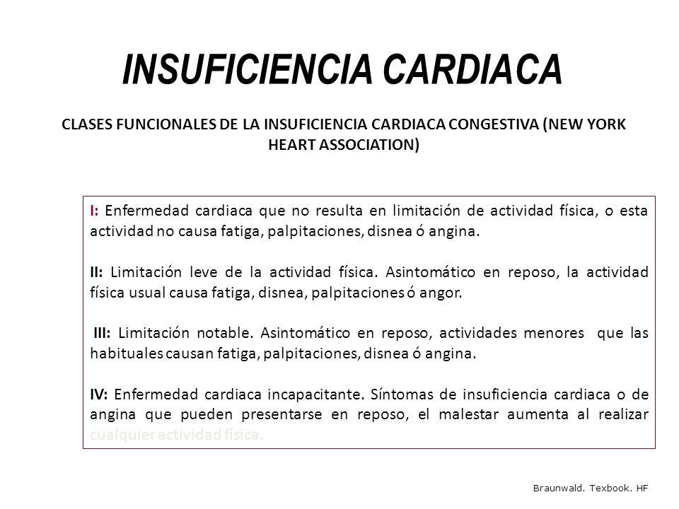 INSUFICIENCIA CARDIACA I: Enfermedad cardiaca que no resulta en limitación de actividad física, o esta actividad no causa fatiga, palpitaciones, disne