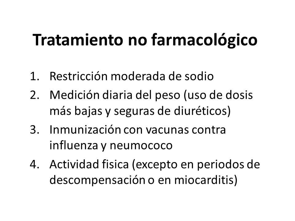 Tratamiento no farmacológico 1.Restricción moderada de sodio 2.Medición diaria del peso (uso de dosis más bajas y seguras de diuréticos) 3.Inmunizació
