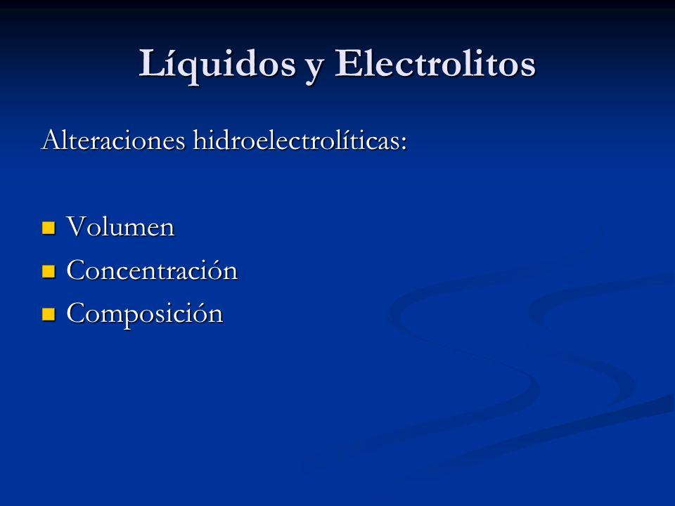 Líquidos y Electrolitos Alteraciones hidroelectrolíticas: Volumen Volumen Concentración Concentración Composición Composición