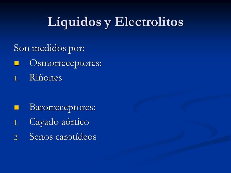 Líquidos y Electrolitos Son medidos por: Osmorreceptores: Osmorreceptores: 1. Riñones Barorreceptores: Barorreceptores: 1. Cayado aórtico 2. Senos car