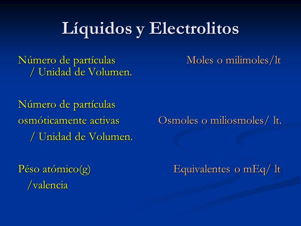 Líquidos y Electrolitos Número de partículas Moles o milimoles/lt / Unidad de Volumen. Número de partículas osmóticamente activas Osmoles o miliosmole