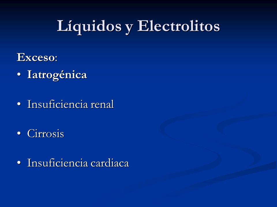 Líquidos y Electrolitos Exceso: IatrogénicaIatrogénica Insuficiencia renalInsuficiencia renal CirrosisCirrosis Insuficiencia cardiacaInsuficiencia car