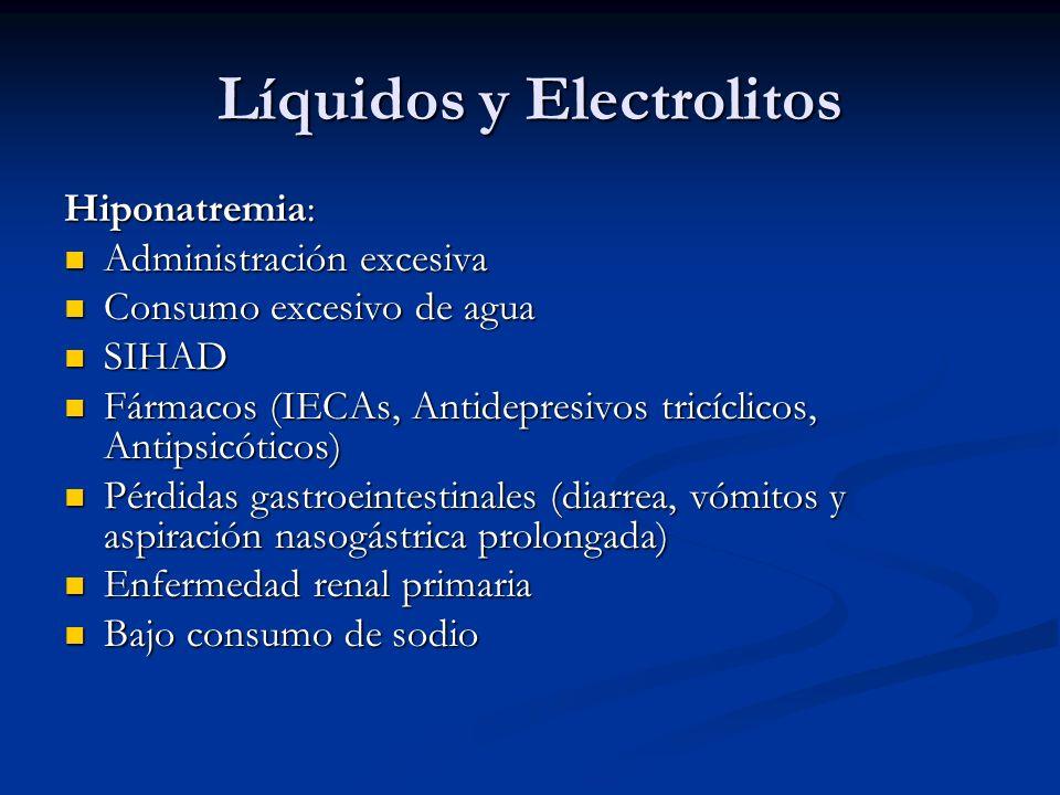 Líquidos y Electrolitos Hiponatremia: Administración excesiva Administración excesiva Consumo excesivo de agua Consumo excesivo de agua SIHAD SIHAD Fá