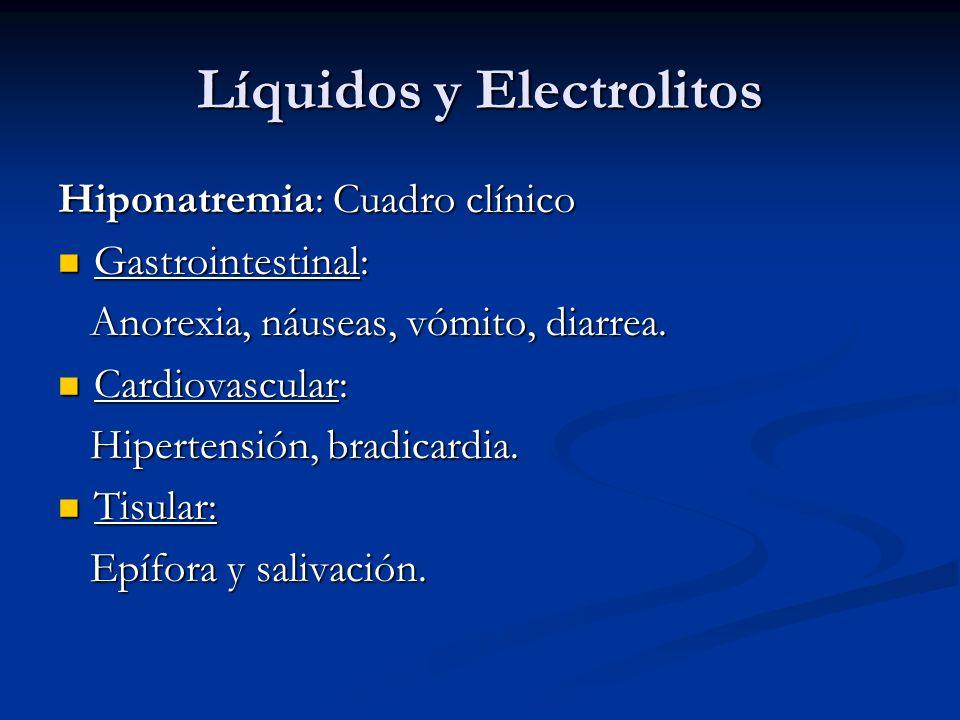 Líquidos y Electrolitos Hiponatremia: Cuadro clínico Gastrointestinal: Gastrointestinal: Anorexia, náuseas, vómito, diarrea. Anorexia, náuseas, vómito