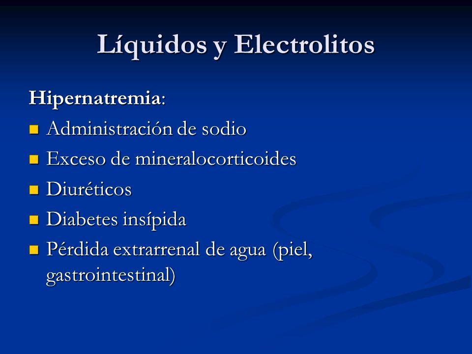 Líquidos y Electrolitos Hipernatremia: Administración de sodio Administración de sodio Exceso de mineralocorticoides Exceso de mineralocorticoides Diu