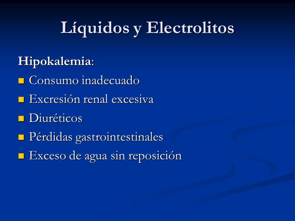 Líquidos y Electrolitos Hipokalemia: Consumo inadecuado Consumo inadecuado Excresión renal excesiva Excresión renal excesiva Diuréticos Diuréticos Pérdidas gastrointestinales Pérdidas gastrointestinales Exceso de agua sin reposición Exceso de agua sin reposición