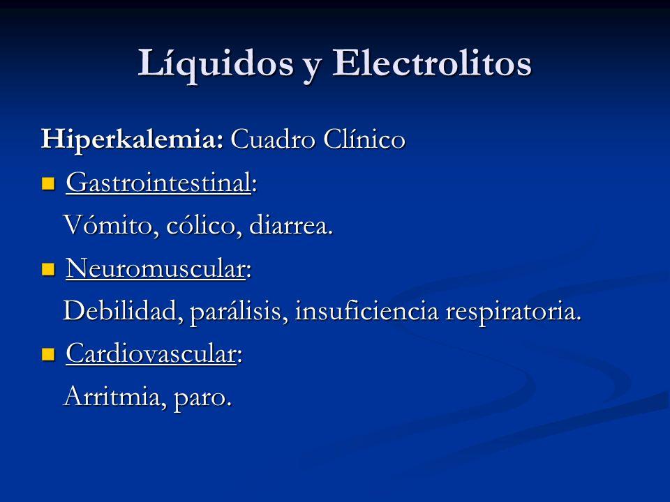Líquidos y Electrolitos Hiperkalemia: Cuadro Clínico Gastrointestinal: Gastrointestinal: Vómito, cólico, diarrea. Vómito, cólico, diarrea. Neuromuscul