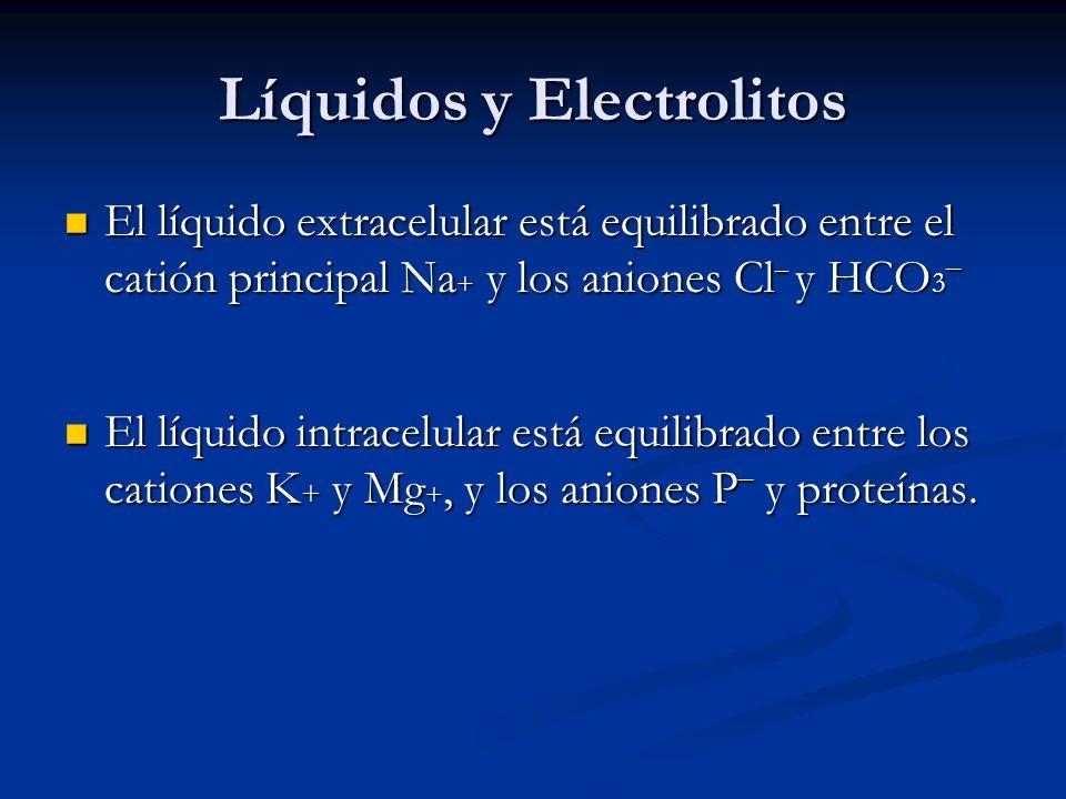 Líquidos y Electrolitos El líquido extracelular está equilibrado entre el catión principal Na + y los aniones Cl ¯ y HCO 3¯ El líquido extracelular está equilibrado entre el catión principal Na + y los aniones Cl ¯ y HCO 3¯ El líquido intracelular está equilibrado entre los cationes K + y Mg +, y los aniones P ¯ y proteínas.