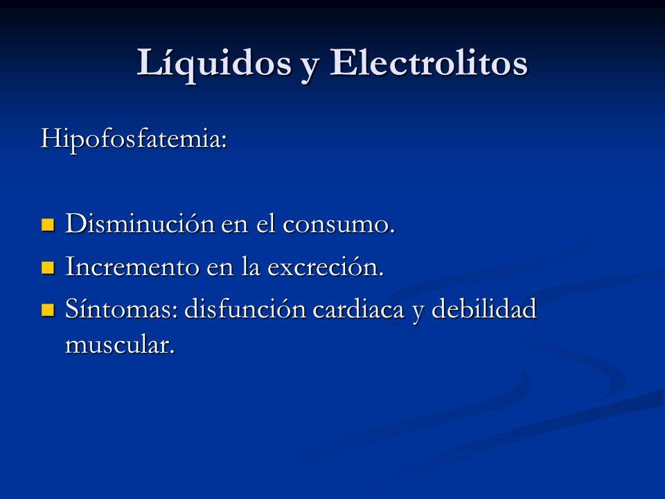 Líquidos y Electrolitos Hipofosfatemia: Disminución en el consumo. Disminución en el consumo. Incremento en la excreción. Incremento en la excreción.