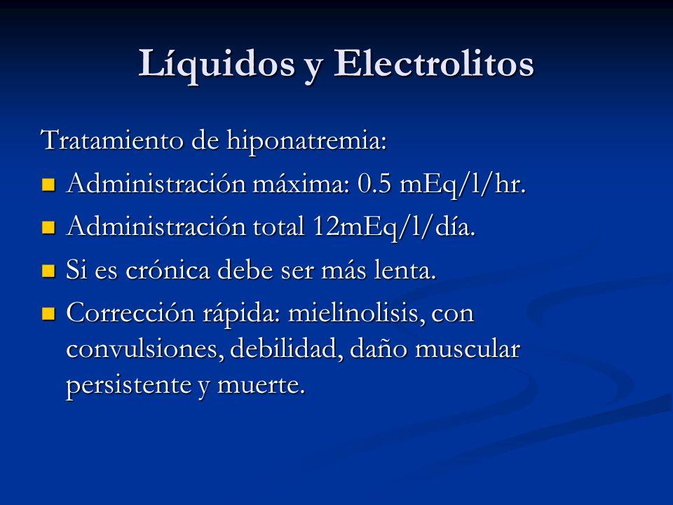 Líquidos y Electrolitos Tratamiento de hiponatremia: Administración máxima: 0.5 mEq/l/hr. Administración máxima: 0.5 mEq/l/hr. Administración total 12