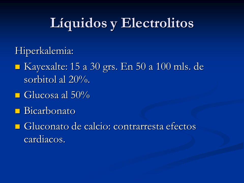 Líquidos y Electrolitos Hiperkalemia: Kayexalte: 15 a 30 grs. En 50 a 100 mls. de sorbitol al 20%. Kayexalte: 15 a 30 grs. En 50 a 100 mls. de sorbito