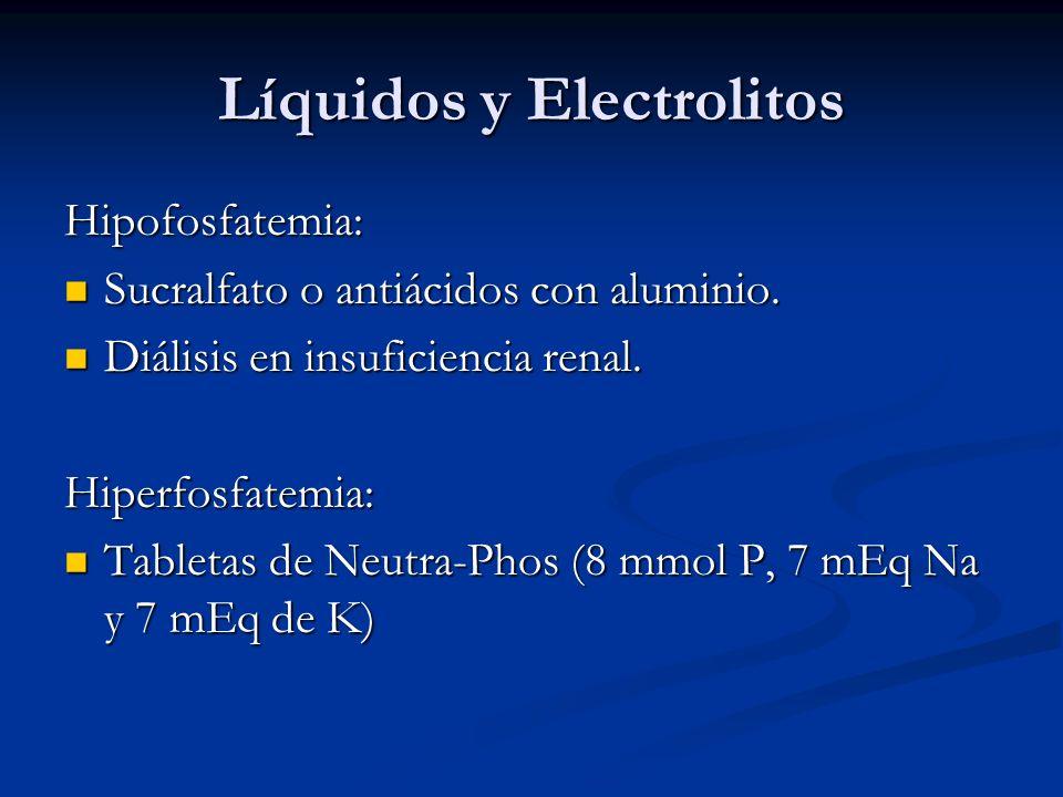 Líquidos y Electrolitos Hipofosfatemia: Sucralfato o antiácidos con aluminio. Sucralfato o antiácidos con aluminio. Diálisis en insuficiencia renal. D