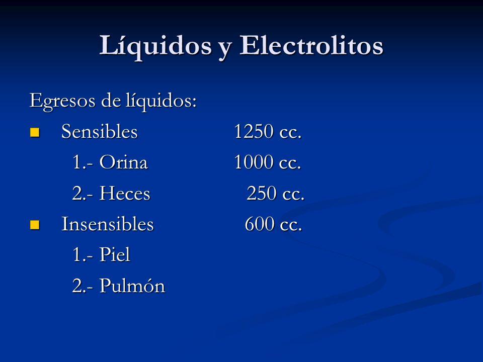 Líquidos y Electrolitos Egresos de líquidos: Sensibles 1250 cc. Sensibles 1250 cc. 1.- Orina 1000 cc. 1.- Orina 1000 cc. 2.- Heces 250 cc. 2.- Heces 2