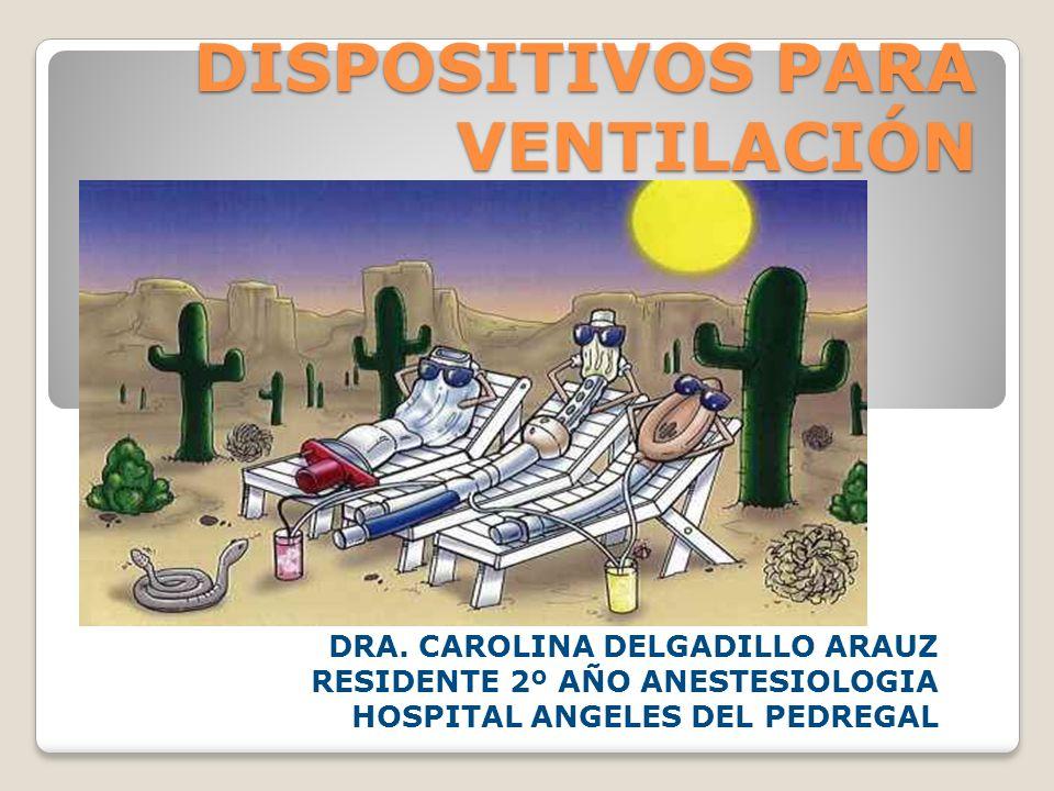 DISPOSITIVOS PARA VENTILACIÓN DRA. CAROLINA DELGADILLO ARAUZ RESIDENTE 2º AÑO ANESTESIOLOGIA HOSPITAL ANGELES DEL PEDREGAL