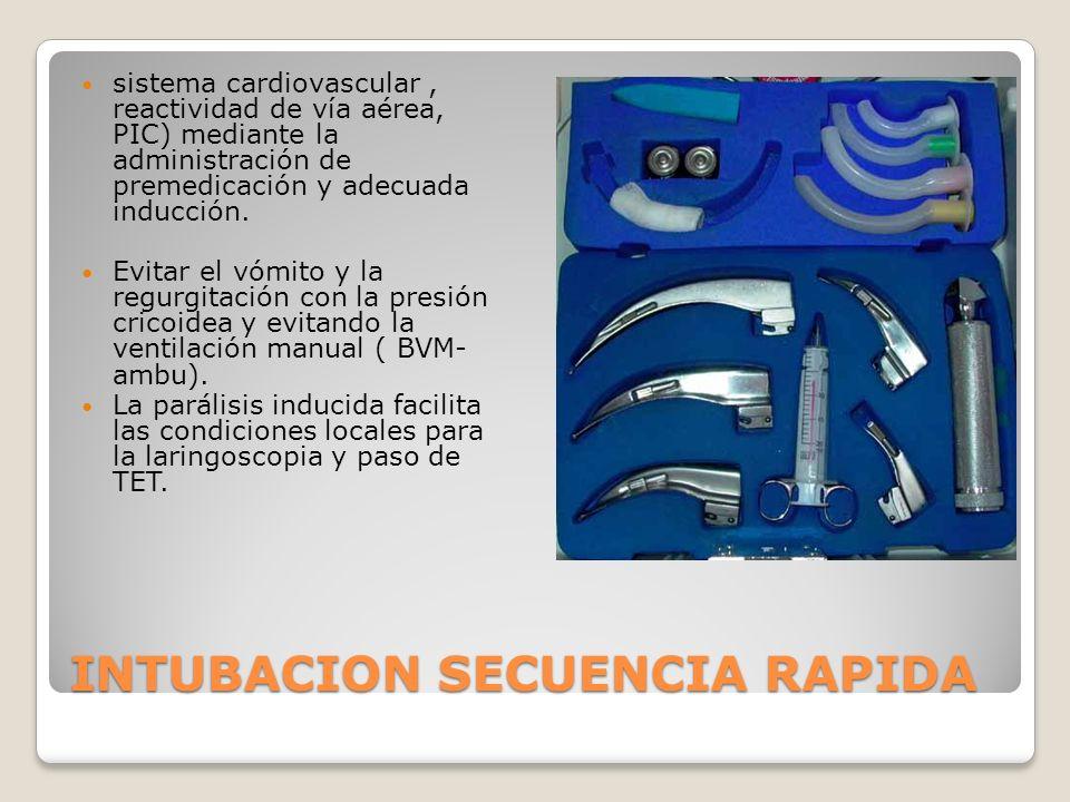 INTUBACION SECUENCIA RAPIDA sistema cardiovascular, reactividad de vía aérea, PIC) mediante la administración de premedicación y adecuada inducción.