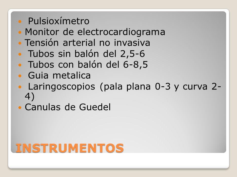 INSTRUMENTOS Pulsioxímetro Monitor de electrocardiograma Tensión arterial no invasiva Tubos sin balón del 2,5-6 Tubos con balón del 6-8,5 Guia metalica Laringoscopios (pala plana 0-3 y curva 2- 4) Canulas de Guedel