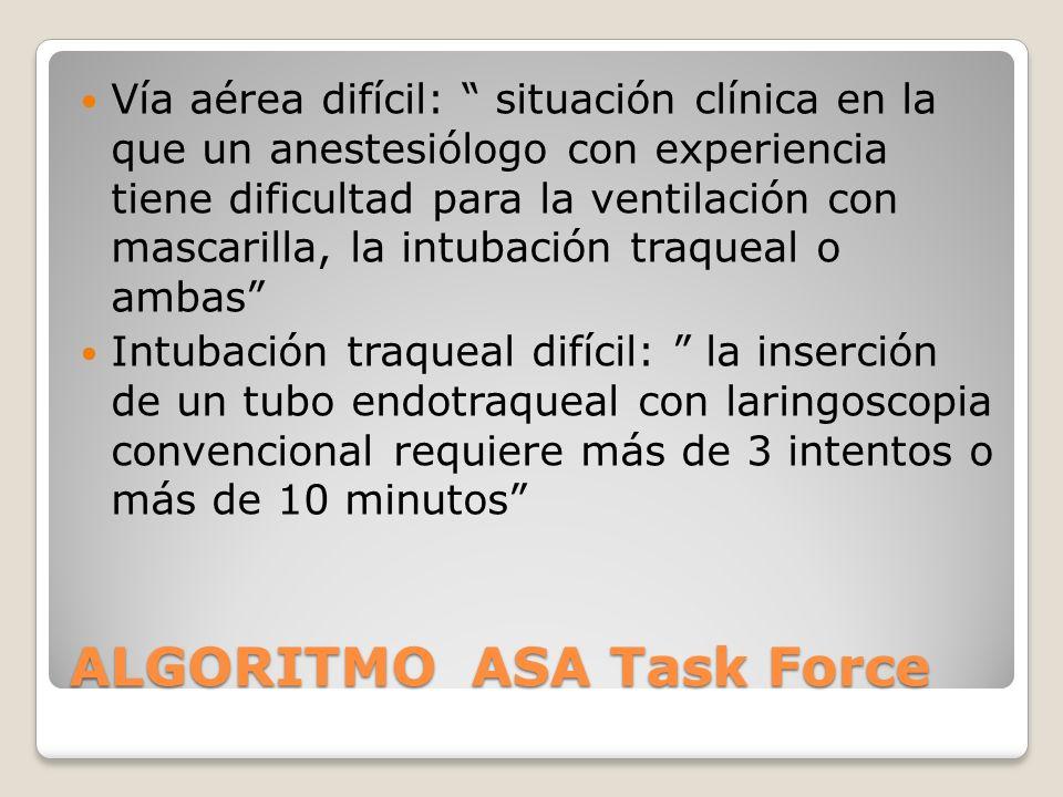 ALGORITMO ASA Task Force Vía aérea difícil: situación clínica en la que un anestesiólogo con experiencia tiene dificultad para la ventilación con mascarilla, la intubación traqueal o ambas Intubación traqueal difícil: la inserción de un tubo endotraqueal con laringoscopia convencional requiere más de 3 intentos o más de 10 minutos