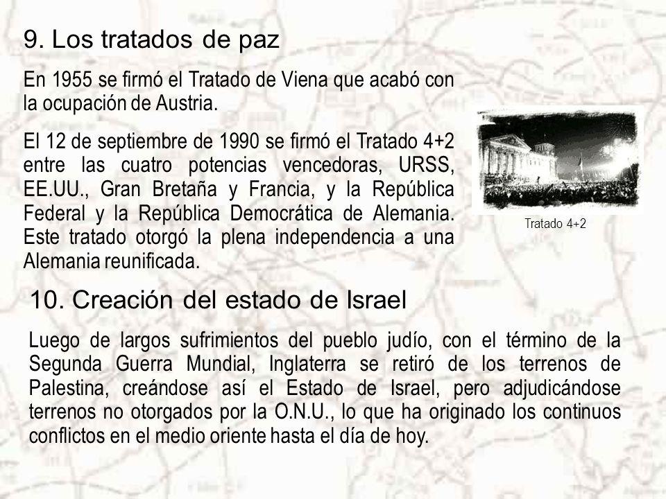 9. Los tratados de paz En 1955 se firmó el Tratado de Viena que acabó con la ocupación de Austria.