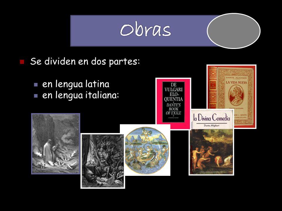 Se dividen en dos partes: en lengua latina en lengua italiana:
