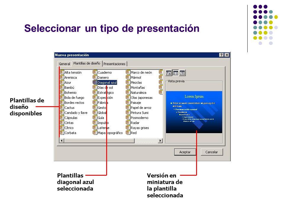 Seleccionar un tipo de presentación Plantillas de diseño disponibles Plantillas diagonal azul seleccionada Versión en miniatura de la plantilla selecc