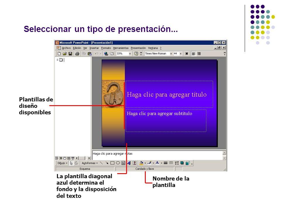 Seleccionar un tipo de presentación... Plantillas de diseño disponibles La plantilla diagonal azul determina el fondo y la disposición del texto Nombr