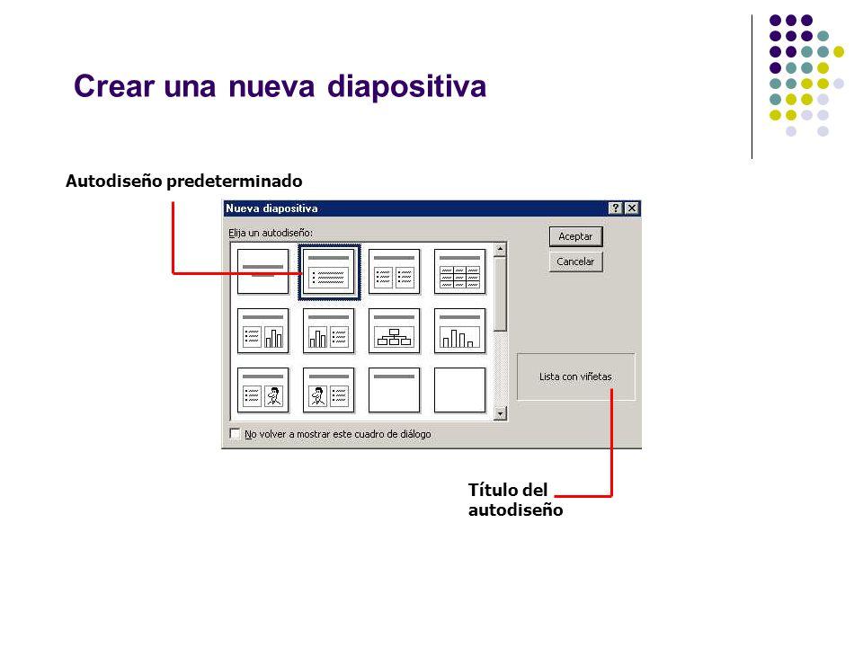 Crear una nueva diapositiva Autodiseño predeterminado Título del autodiseño
