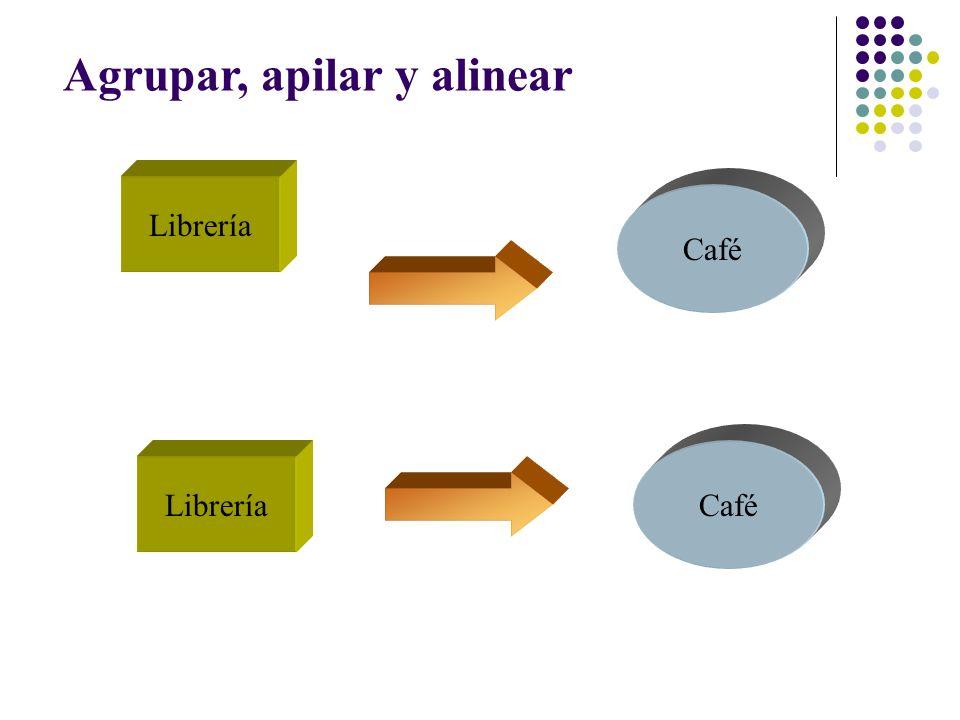 Agrupar, apilar y alinear Librería Café Librería Café