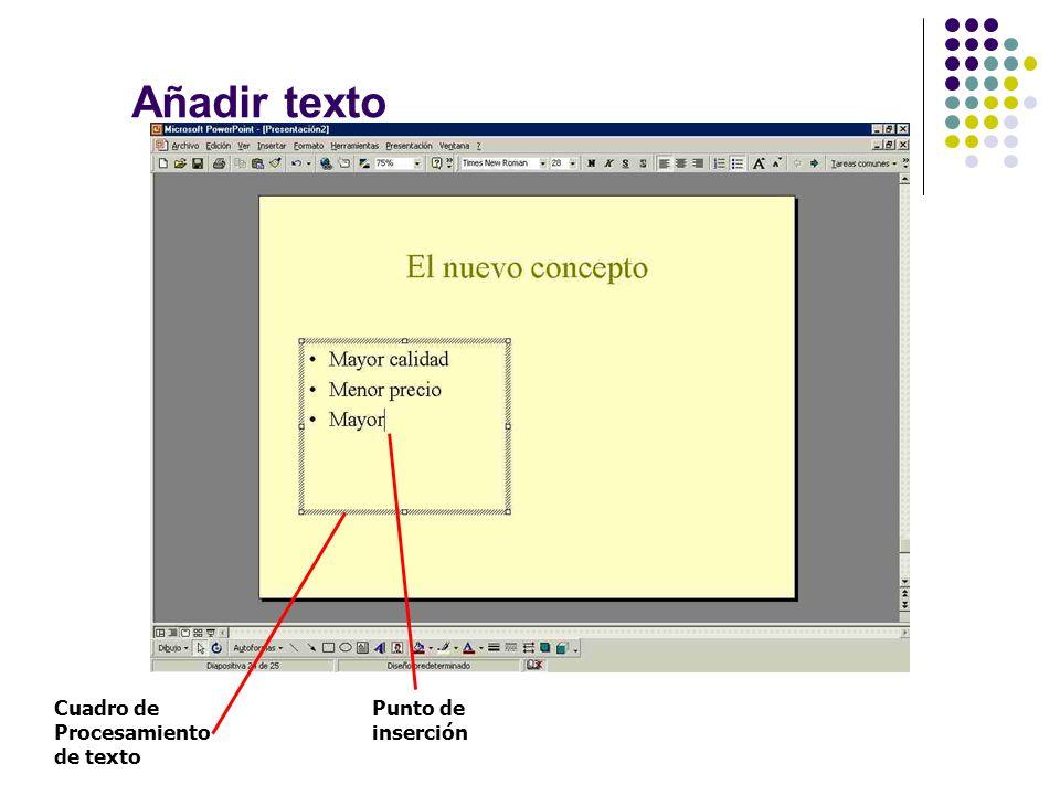 Añadir texto Cuadro de Procesamiento de texto Punto de inserción