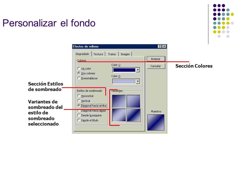 Personalizar el fondo Sección Colores Variantes de sombreado del estilo de sombreado seleccionado Sección Estilos de sombreado