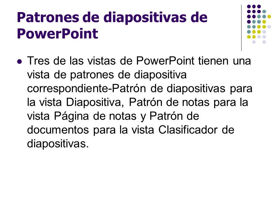 Patrones de diapositivas de PowerPoint Tres de las vistas de PowerPoint tienen una vista de patrones de diapositiva correspondiente-Patrón de diaposit