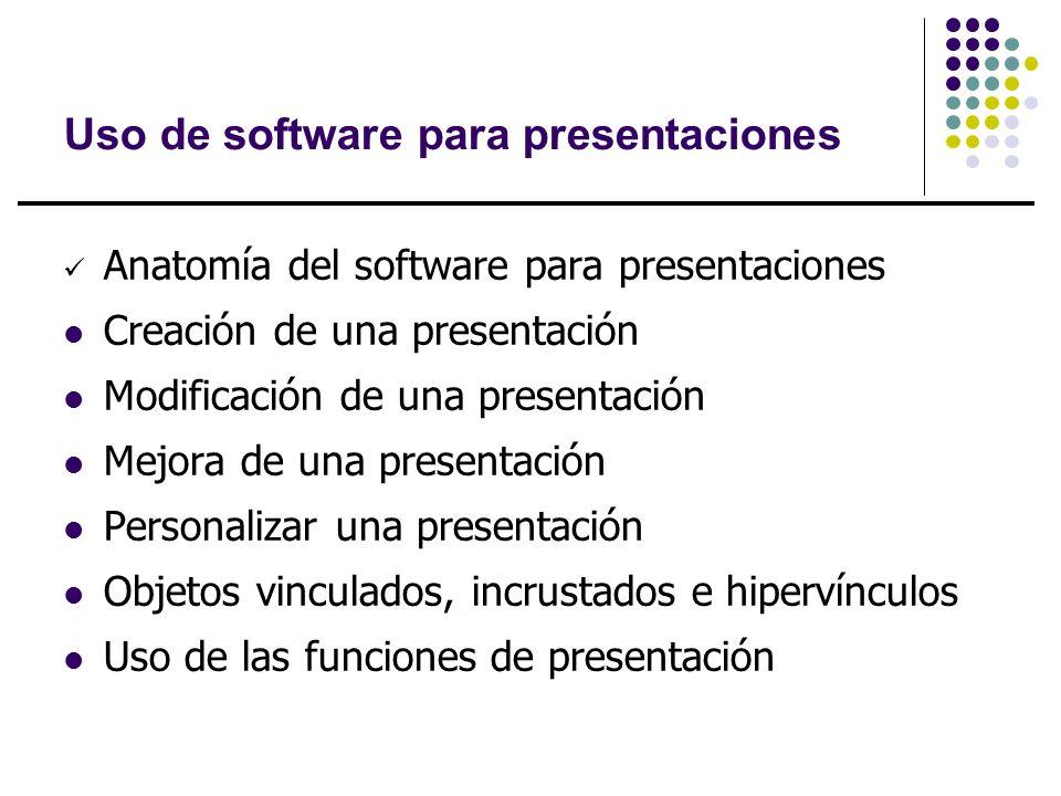 Uso de software para presentaciones Anatomía del software para presentaciones Creación de una presentación Modificación de una presentación Mejora de