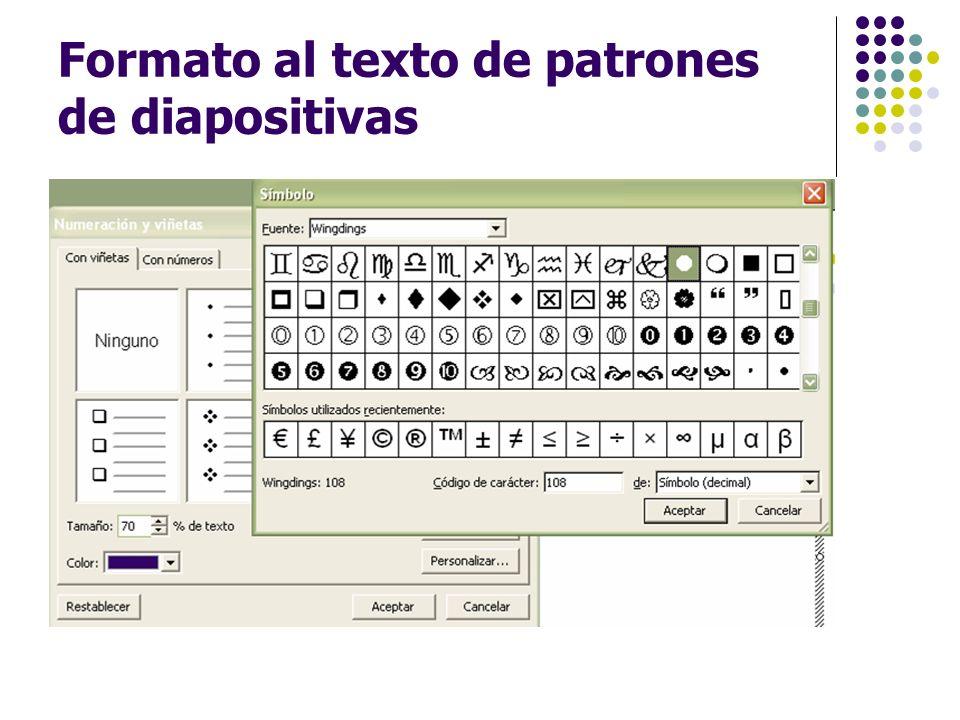 Formato al texto de patrones de diapositivas