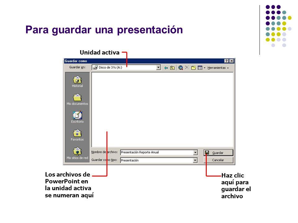 Para guardar una presentación Unidad activa Los archivos de PowerPoint en la unidad activa se numeran aquí Haz clic aquí para guardar el archivo