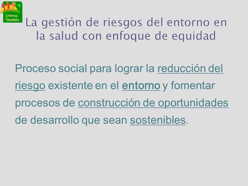La gestión de riesgos del entorno en la salud con enfoque de equidad Proceso social para lograr la reducción del riesgo existente en el entorno y fome