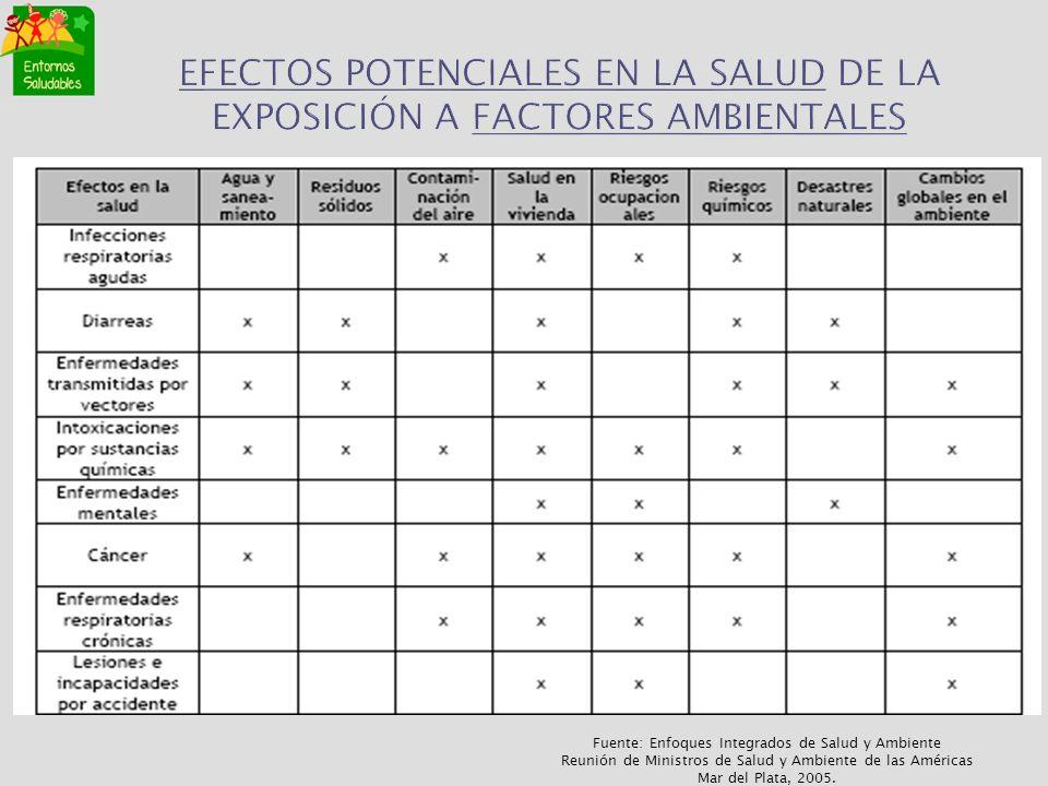 EFECTOS POTENCIALES EN LA SALUD DE LA EXPOSICIÓN A FACTORES AMBIENTALES Fuente: Enfoques Integrados de Salud y Ambiente Reunión de Ministros de Salud