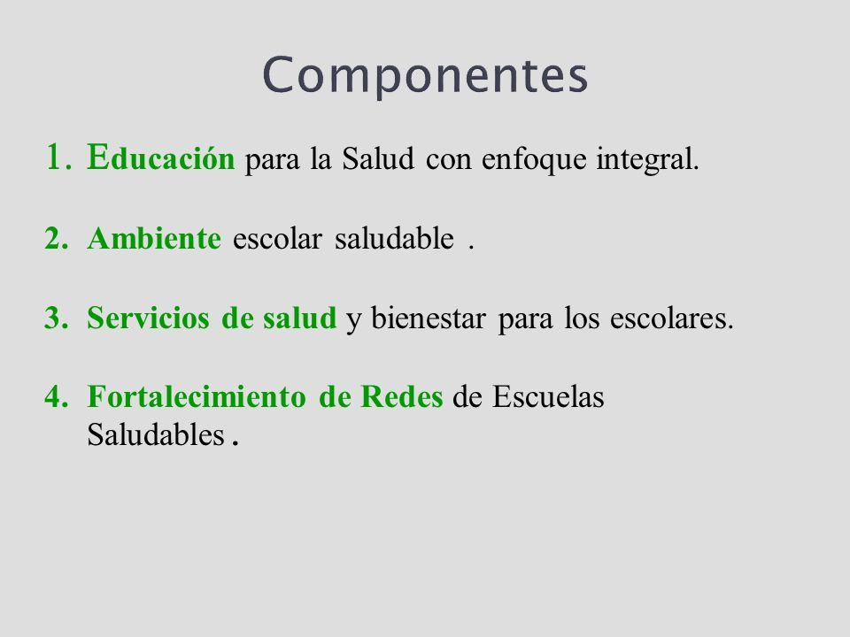 Componentes ducación para la Salud con enfoque integral. 2.Ambiente escolar saludable. 3.Servicios de salud y bienestar para los escolares. 4.Fortalec