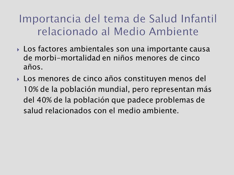 EFECTOS POTENCIALES EN LA SALUD DE LA EXPOSICIÓN A FACTORES AMBIENTALES Fuente: Enfoques Integrados de Salud y Ambiente Reunión de Ministros de Salud y Ambiente de las Américas Mar del Plata, 2005.