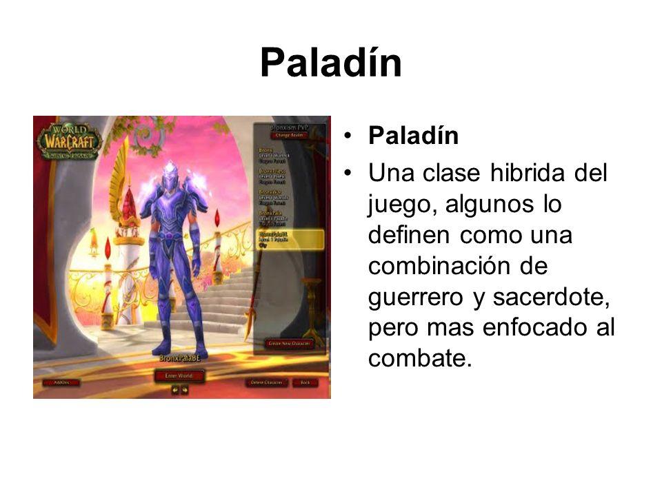Paladín Una clase hibrida del juego, algunos lo definen como una combinación de guerrero y sacerdote, pero mas enfocado al combate.