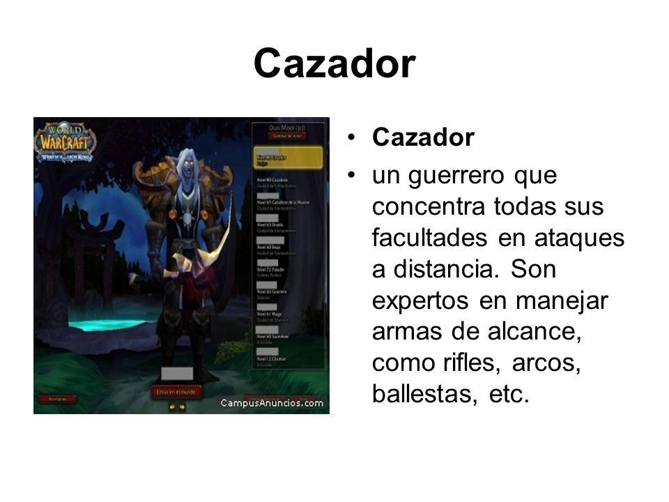 Cazador un guerrero que concentra todas sus facultades en ataques a distancia. Son expertos en manejar armas de alcance, como rifles, arcos, ballestas