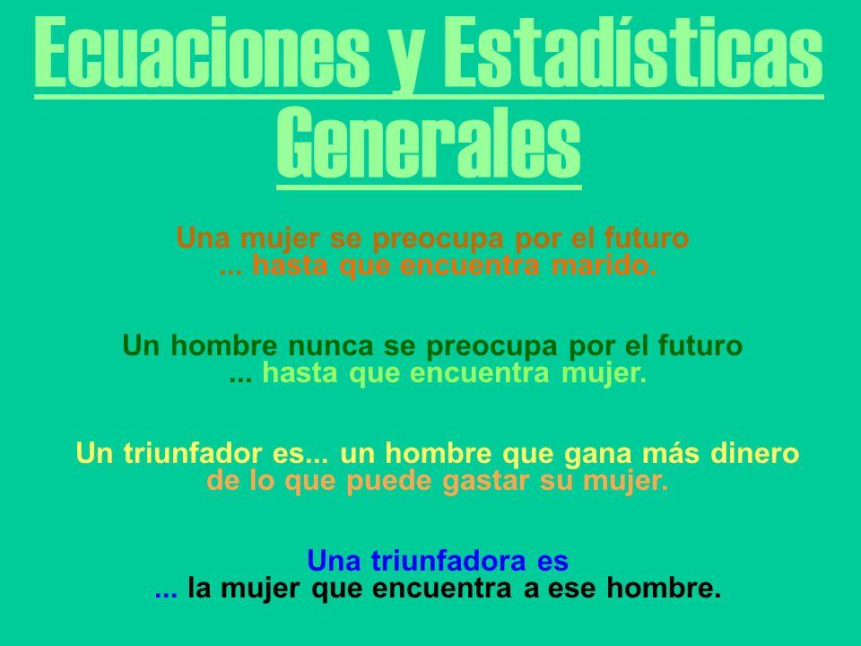 Ecuaciones y Estadísticas Generales Una mujer se preocupa por el futuro...