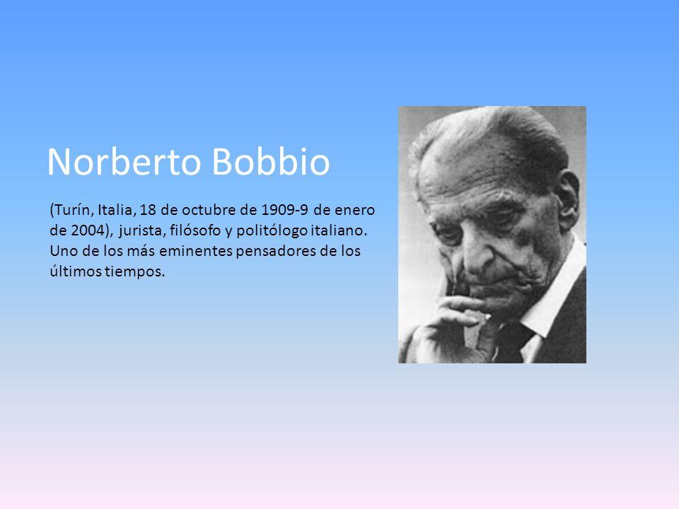 Norberto Bobbio (Turín, Italia, 18 de octubre de 1909-9 de enero de 2004), jurista, filósofo y politólogo italiano. Uno de los más eminentes pensadore