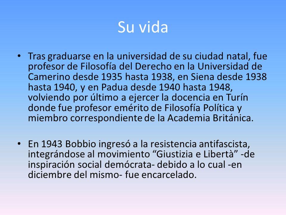 Después de la guerra, y por mucho tiempo, Bobbio se alejó de la política activa, especialmente después de un fracasado intento de ocupar un escaño en el congreso italiano, a pesar de lo cual continuó participando en diferentes actividades de carácter cultural.