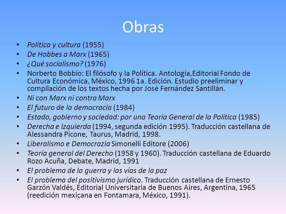 Obras Política y cultura (1955) De Hobbes a Marx (1965) ¿Qué socialismo? (1976) Norberto Bobbio: El filósofo y la Política. Antología,Editorial Fondo
