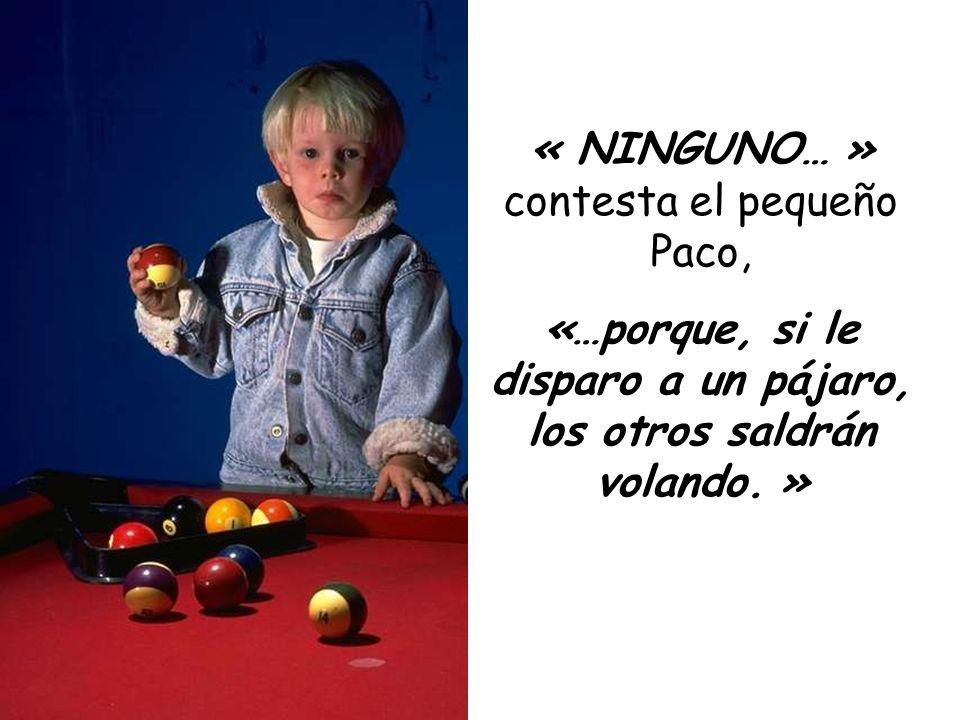 « NINGUNO… » contesta el pequeño Paco, «…porque, si le disparo a un pájaro, los otros saldrán volando. »